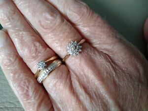 9ct Gold Diamond Cluster Ring  size M.5