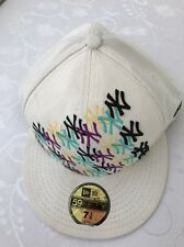 New Era 59fifty ny new york yankees Hat Fitted 7 3/8 White Embroidered White Cap