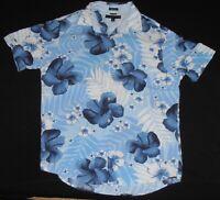 VTG 2004 TOMMY HILFIGER S/S FLORAL HAWAIIAN CAMP SHIRT Blue L Rayon FLOWERS