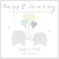 Personalised 1st First Wedding Anniversary Card Daughter Son in law