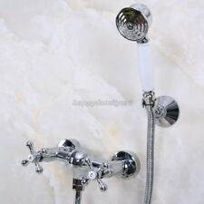 Polished Chrome Brass Wall Mounted Bathroom Hand Held Shower Faucet Set yna279