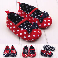 Newborn Baby Girls Dot Bowknot Anti-Slip First Walkers Casual Soft Sole Shoes