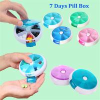 7 Day Travel Pill Box Medicine Tablet Storage Vitamin Dispenser Organiser XA