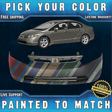 NEW Painted To Match- Front Bumper Cover 2006 2007 2008 Honda Civic Sedan/Hybrid