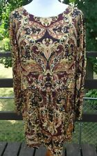 J. Jill women's XL thin long sleeve top/tunic, rayon, paisley, slit sides