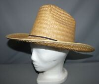 Men's Straw Hat Tan Black Rope Trim Vintage