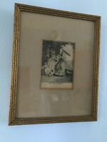"Antique LES TUILERIES. Black and White Fashion Plate 6 1/2"" x 8 1/4"" Framed"