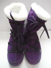 TECNICA MOON BOOTS Fashion COZY Winter Purple Suede Womens Size 8 Pull-On Laces