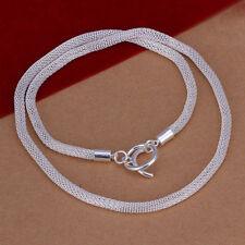 Nouveau femmes 925 Sterling Argent Plaqué Maille 4 mm Collier Pendentif Chaîne Bijoux 20'