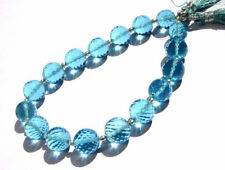 Blue Topaz Hydro Quartz Faceted Round Balls Straight Drilled Beads 8mm 17 Pcs