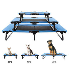 S/ M/ L Size Elevated Pet Bed Dog Cooling Lounger Folding W/ Breathable Mesh Mat