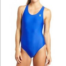 TYR Female Solid Maxback Youth Swim Suit ROYAL II SIZE 22