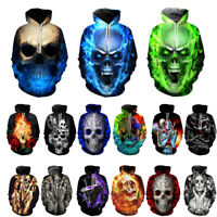 Men Women Rock Punk Flame Skull 3D Print Pullover Hoodie Sweatshirt Jumper Tops