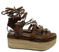 STUART WEITZMAN 'ROMANESQUE' BROWN SUEDE TIE UP PLATFORM SANDALS, 6.5, $595