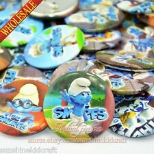45Pcs smurfs Tin Buttons pins badges,45MM,Round Brooch Badge,Kid favor