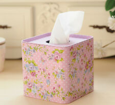 Square Shabby Chic Tin Tissue Box Paper Napkin Box Cover Rose Floral Pink