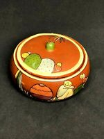 Vintage Tlaquepaque Pottery Brown Bowl with Lid Hand Painted Mexico Folk Art
