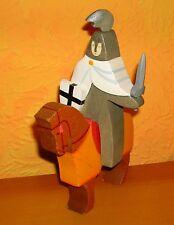 Kinderkram Ritter grau weiß Kreuzritter mit Schwert auf Pferd
