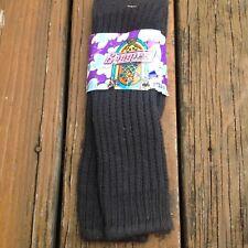 Vintage Black Cotton Slouch Socks Baggies New Ballston Deadstock 80s Old Stock