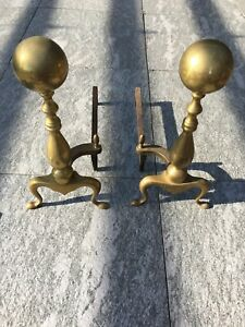 Brass Cannonball Andirons