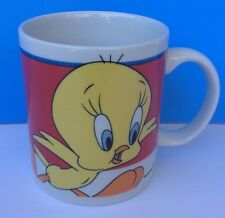 Vintage 1998 Tweety Bird Coffee Mug By LOONEY-TUNES (WB) tea cup Yellow W/Red
