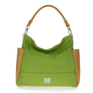 MEDICHI Italian Made Natural Green & Beige Pebbled Leather Designer Hobo Bag