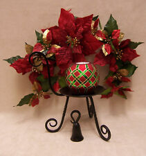 Party Lite CANDLE HOLDER STAND SNUFFER with RED & GREEN CANDLE & Poinsettia Swag