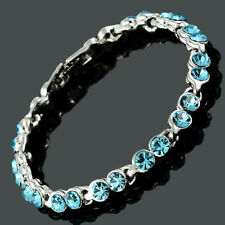 Women Swarovski Crystal Elements Aquamarine Tennis Bracelet (Extended Clasp)
