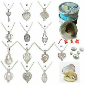 1x Natual Freshwater Cultured Pearl Oyste Cage Hollow Necklace Pendant for Women