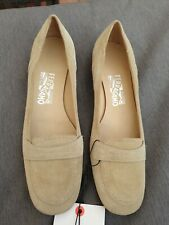 NEW Salvatore Ferragamo Small Heel Beige Shoes Real Leather Loafers Pump Uk 7.5