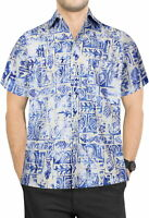 LA LEELA Men's Relaxed Hawaiian Shirt Beach Aloha Party Camp Shirt S Blue_W628