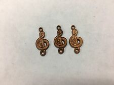 Small charms copper metal G clef music art assemblage lot of 72
