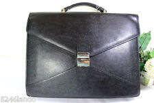 Vintage Lancel Black Leather Laptop Office Bag Suit Case Unisex