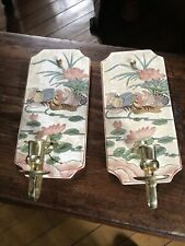 More details for chinese vintage wall sconces  depicting birds and flowers