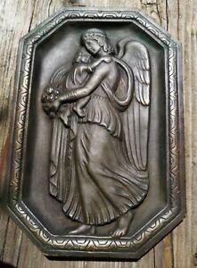 Bronze Relief Schutzengel Bild  - Engel antik mit orig. Patina