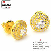 Men's 925 Silver in 14k Gold Plated Round CZ Stud Screw Back Earrings SHS 469 G
