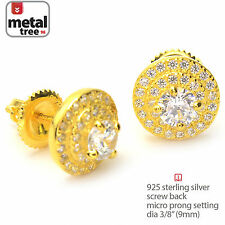 925 Silver With 14k Gold Plated Round 3 Layer Stud Screw Back Earring SHS 469 G