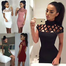 Women Short Slim Hollow Dress Sleeveless Bandage Bodycon Evening Party Cocktail