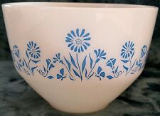 Vintage Federal Mixing Bowl 1.5 Quart Blue Flower White Round Glass Glassware