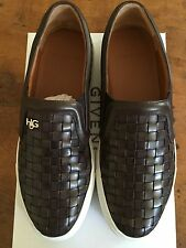 NEW GIVENCHY BROWN LEATHER WOVEN SLIP ON SNEAKERS SKATE SKATER VANS 38 8