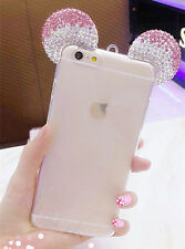 3D Luxury Bling Crystal Mickey Mouse Ears Style  Soft Clear TPU Case for Iphone