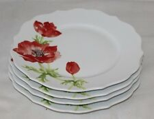 222 Fifth Anemone Red / Green Floral Porcelain Dinner Plates Set of Four New