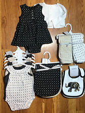 Carters Girls Baby Shower Gift Separates sold as 17 pc set Black White Gold 3 M