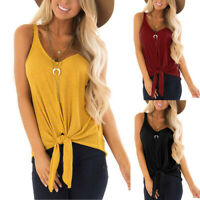 Summer Womens Casual Solid Tie Up Tee V Neck Sleeveless Vest Blouse Shirt Tops