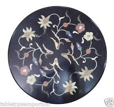 """12"""" Black Marble Round Mosaic Coffee Top Table Marquetry Work Inlay Garden Art"""