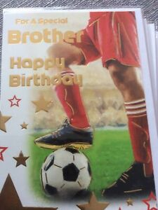 Happy Birthday To A Special Brother. Modern Football Design Card. Nice Words.