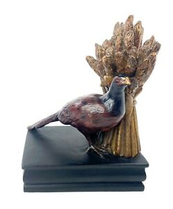 Harvest Pheasant Bird Decorative Bookend Wheat Fall Rich Colors Office Hunting