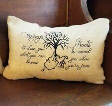 12x18 Embroidered West Virginia Roots Burlap Throw Pillow Cushion Country Decor