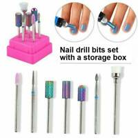 7 Pcs Ceramic Head Nail Cuticle Polishing Manicure Tools Nail Drill Set