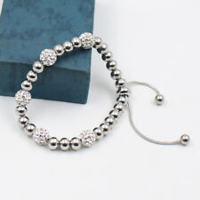 GNAYY New Stainless steel Fashion Women Friendship Bracelet crystals Ball Chain